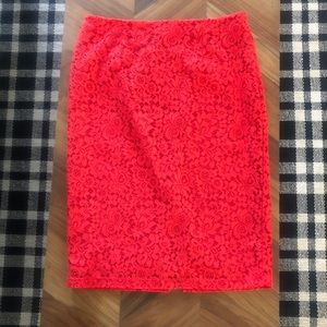 Halogen red lace pencil skirt size 14 perfect!
